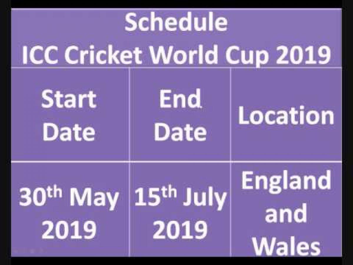 ICC World Cup 2019: Schedule, Fixtures, Time Table & Venue Details ...