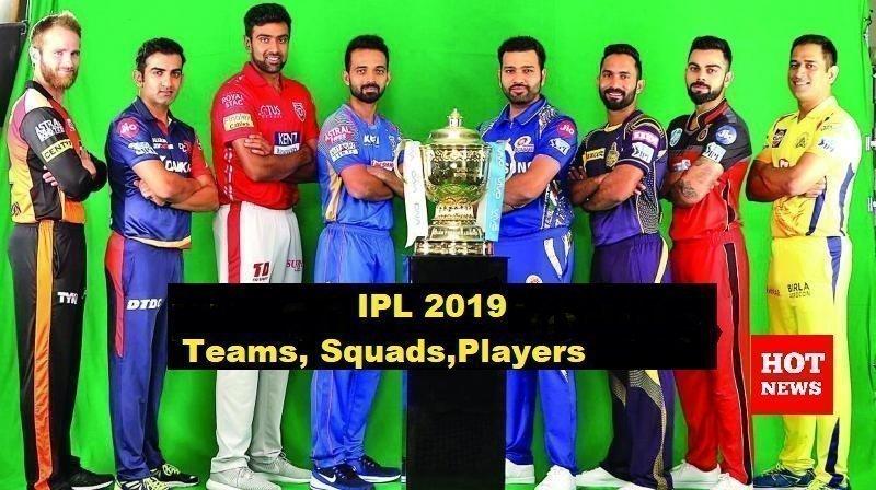 IPL 2019 ,Teams, squads ,Players