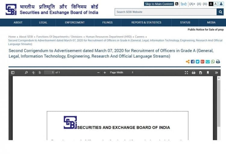 SEBI Grade A Recruitment 2020