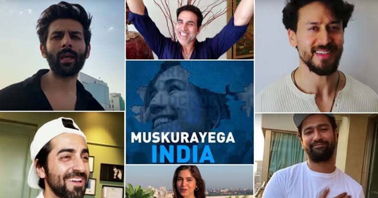 "Photo of ""Muskurayega India"", presented by Jjust Music and Cape of Good Films appreciating our Nation for staying together and unite featuring Bollywood celebrities"