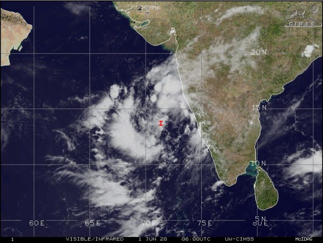Photo of Nisarg cyclone on the way will hit Alibag; 490 kilometres away from Mumbai
